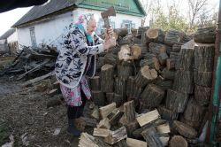 Марии Павловне Димовой 73 года, но пожилая женщина лихо управляется с колкой дров